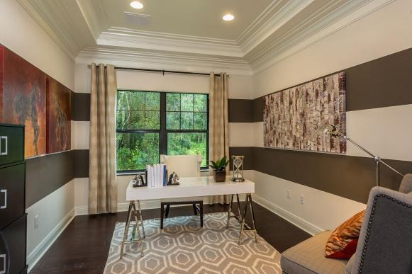 Contemporary Home Office With Striped Walls