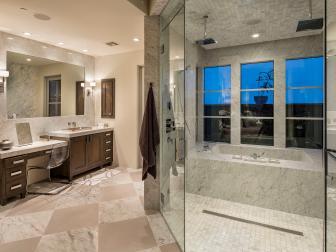 Glamorous Bathroom With Walk-In Shower and Marble Bathtub
