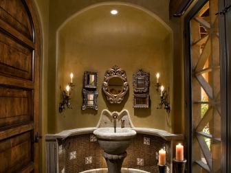 Old World-Style Bathroom Boasts Cast Stone Pedestal Sink