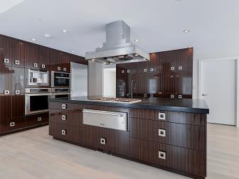 Sleek, Contemporary Kitchen Boasts Oversized Island