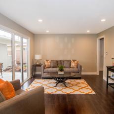 Flip or Flop: Sliding Glass Doors in Finished Living Room