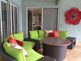 Bold Patio Sitting Area With Brown Wicker Furniture