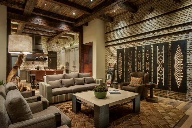 Rustic Great Room With Exposed Wood Ceiling Beams