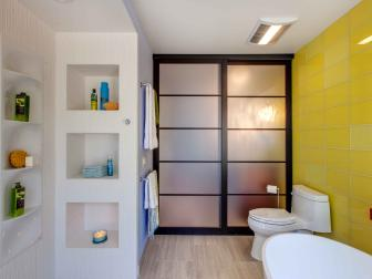 Yellow and White Modern Bathroom With Sliding Door