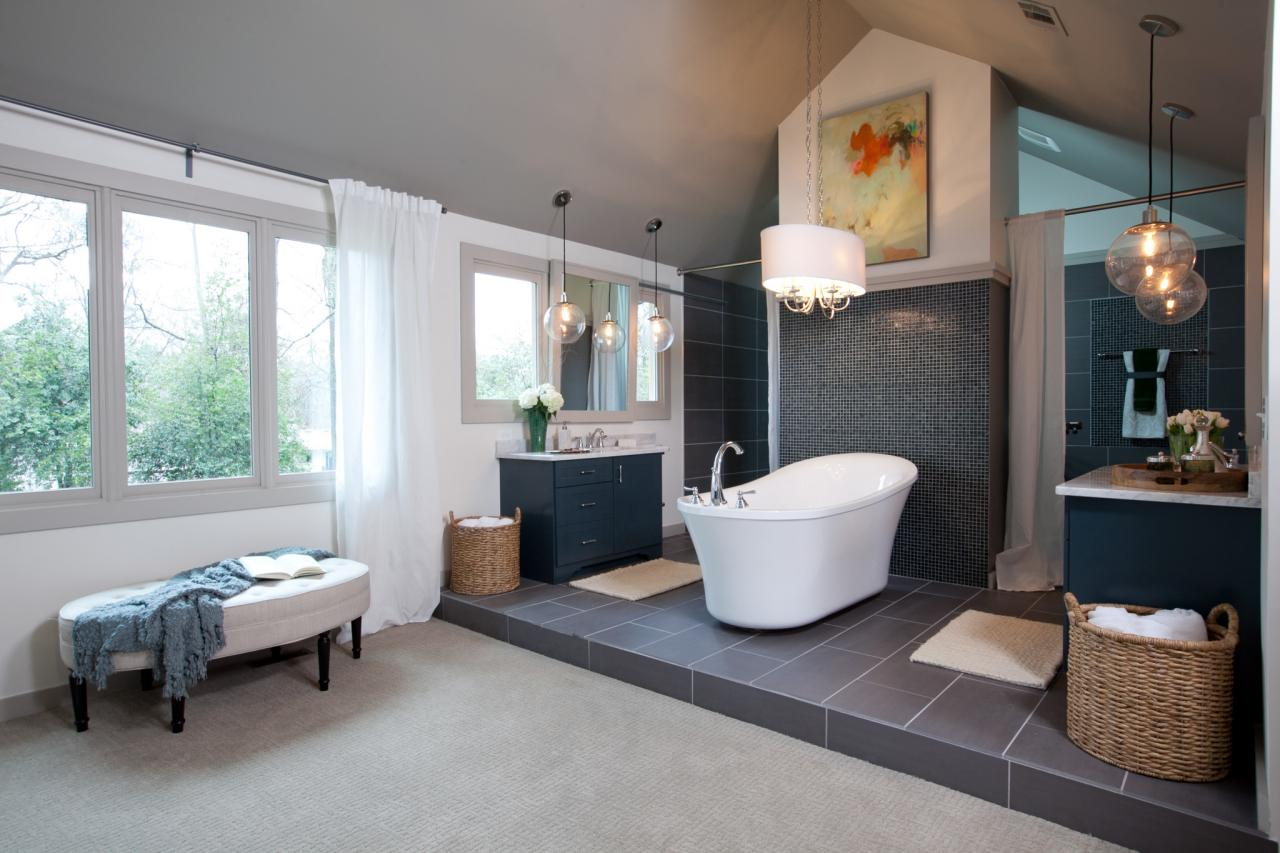 Elbow room hgtv for Open bathroom designs