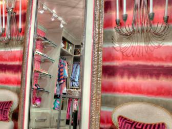 Custom-Designed Mirror in Luxurious Pink Closet