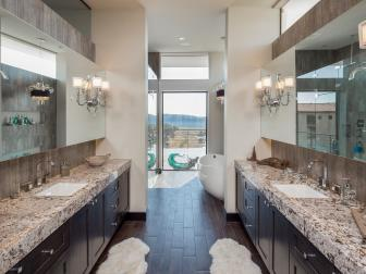 Contemporary Bathroom Provides Room for Two