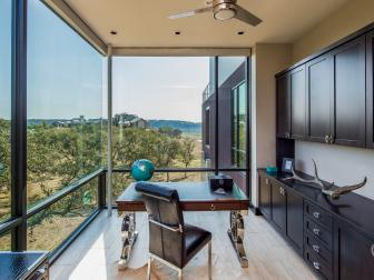 Contemporary Home Office Boasts Floor-to-Ceiling Windows