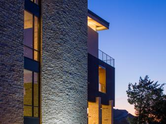 Exterior Lights Enhance Contemporary Home at Night