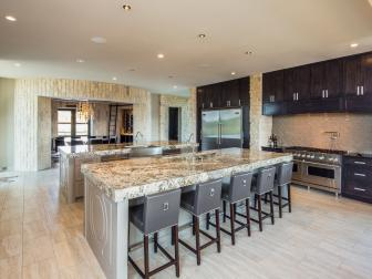 Contemporary Kitchen Features Dark Brown Cabinets