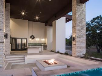 Sunken Outdoor Seating Area With Modern Concrete Fire Pit
