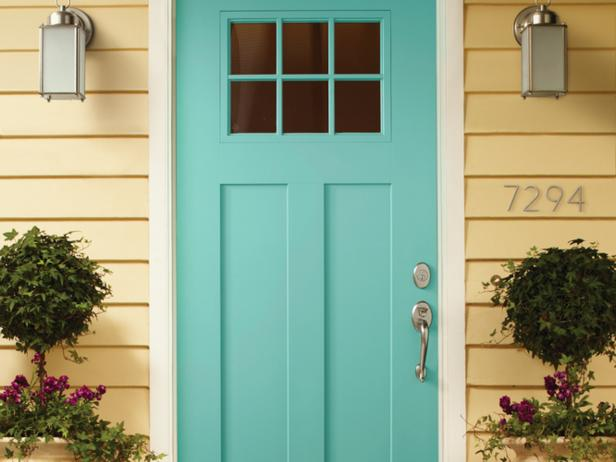 Teal Door with Windows on Front Porch