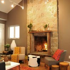 Stone Fireplace in Small Living Room