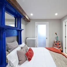 Bright Blue Mantel as Headboard