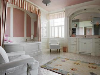 Pink Bathroom: Cape Cod Estate on Buzzards Bay in Dartmouth, Mass.