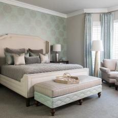 Master Bedroom Features Seafoam Green Accent Wall U0026 Plush Neutral Furniture