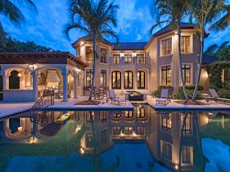 Back Exterior at Night: Bayfront Mediterranean Villa in Naples, Fla.