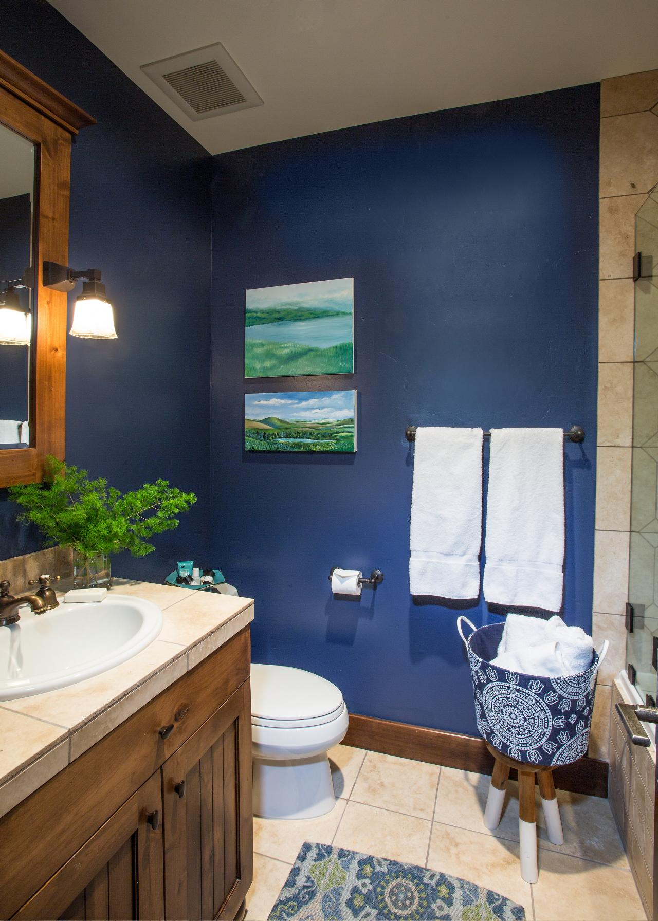 Blue And Brown Bathroom: Photos