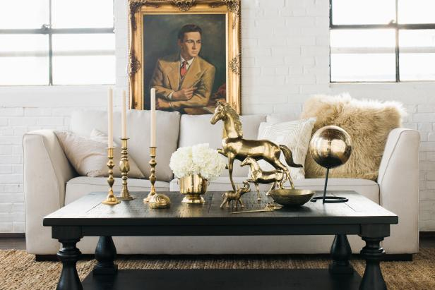 Collection of Bronze Decor on Living Room Coffee Table