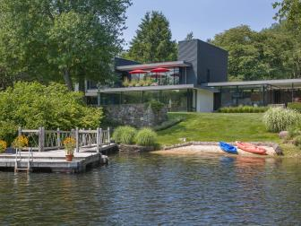 Exterior and Dock: Lakefront Midcentury Luxury Home in Bedford, New York
