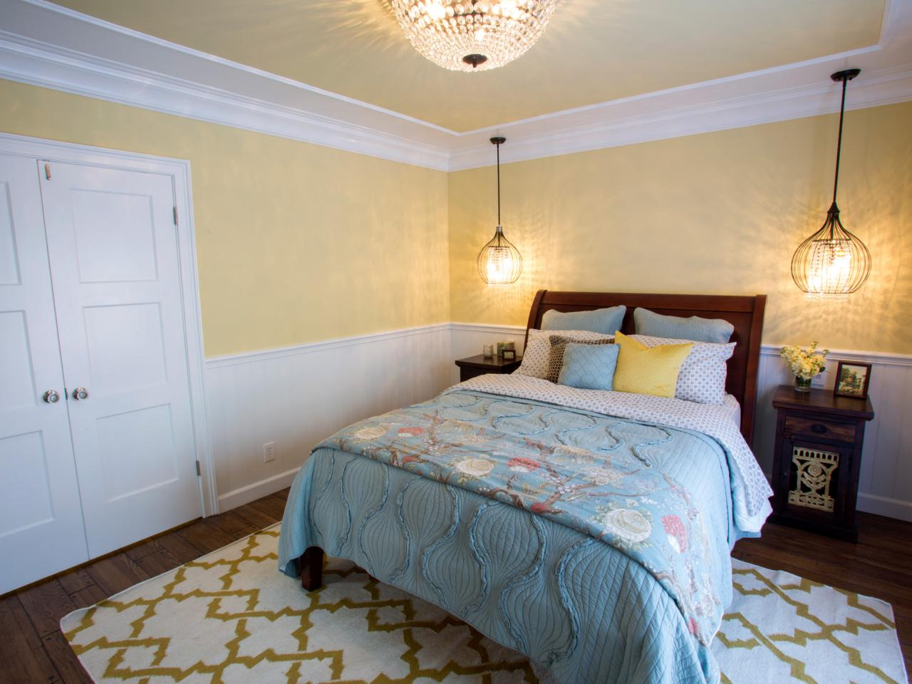 House hunters renovation hgtv Master bedroom with yellow walls