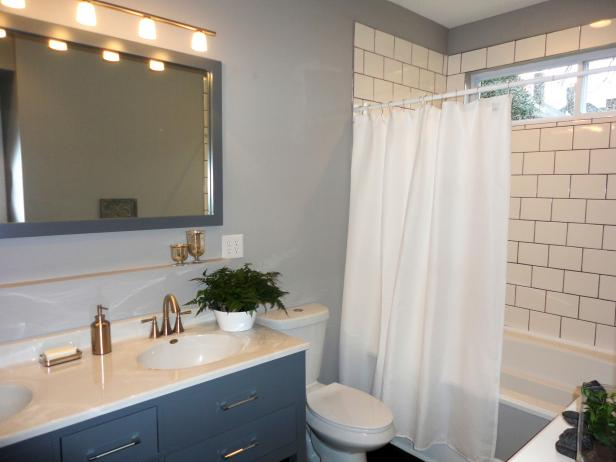 Gray, Contemporary Second Floor Bath with Double Vanity and Subway Tile Shower