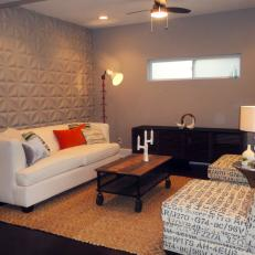 Dimensional Tile Accent Wall In White Contemporary Living Room