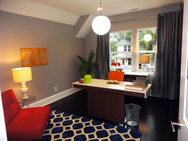 Bold Colors in Contemporary Home Office