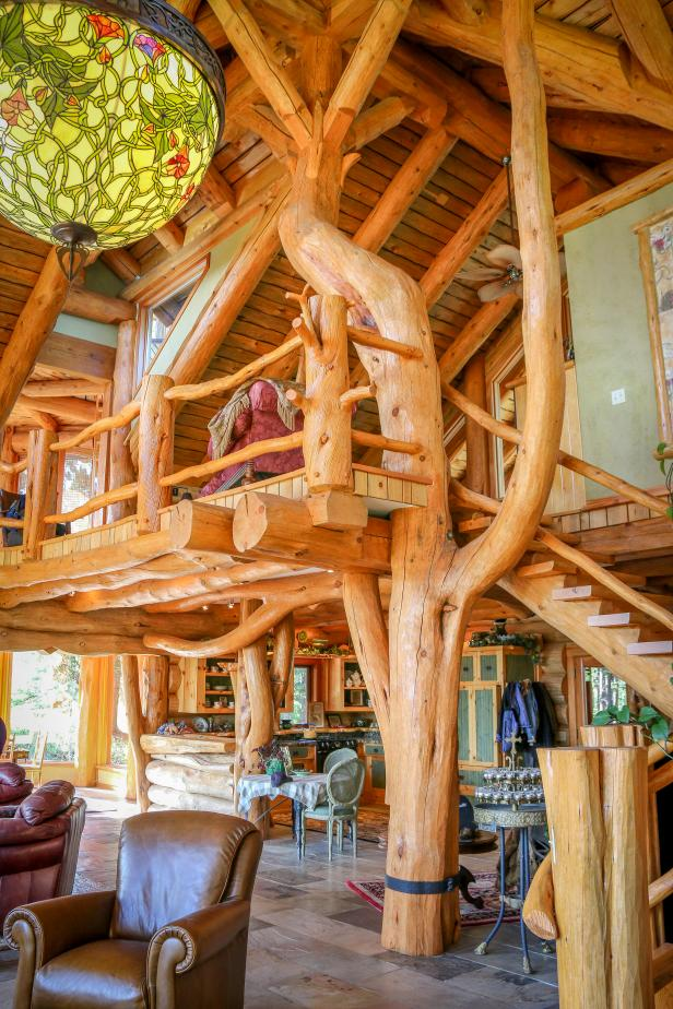 Loft Bedroom: Rustic Lakeside Estate in Chilko, British Columbia, Canada