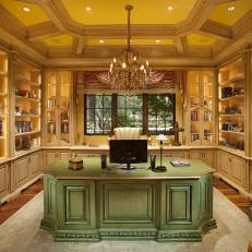 Elegant Yellow Office Boasts Crystal Chandelier