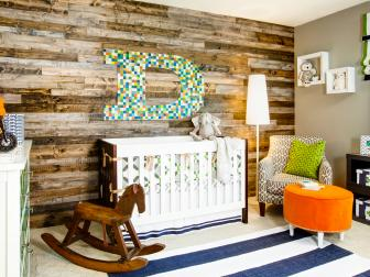 Multicolored Contemporary Rustic Nursery With Wood Paneling