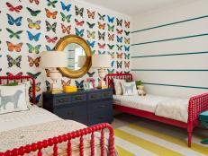 Colorful Girl's Bedroom With Butterfly Applique Accent Wall