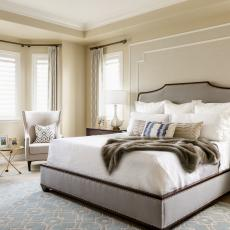 Gorgeous Transitional Bedroom With Gray Upholstered Bed Frame