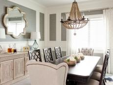 Elegant Transitional Dining Room With Trellis Patterned Accents