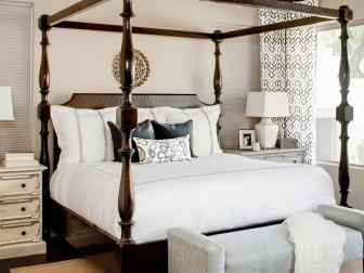 White Transitional Bedroom With Canopy Bed
