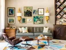 Multicolored Midcentury Living Room With Gallery Wall