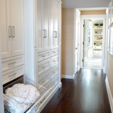 Custom White Built-Ins in Traditional Hallway