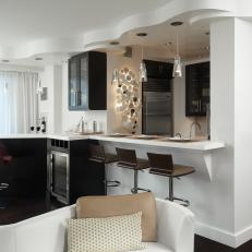 Contemporary Apartment Kitchen Features Attached Bar