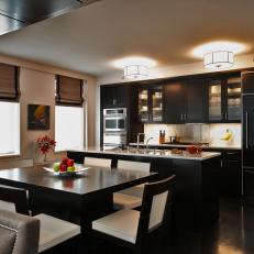 Contemporary Kitchen With Sleek Black Cabinets