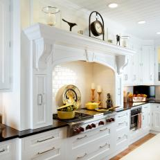 Traditional White Kitchen With Black Countertops
