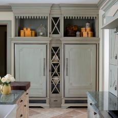 Custom Paneled Refrigerator in French Country Kitchen