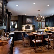 Dark, Dramatic Kitchen With Traditional Design