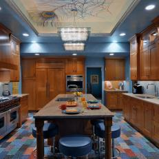 Creative Kitchen With Peacock Feather Ceiling Mural