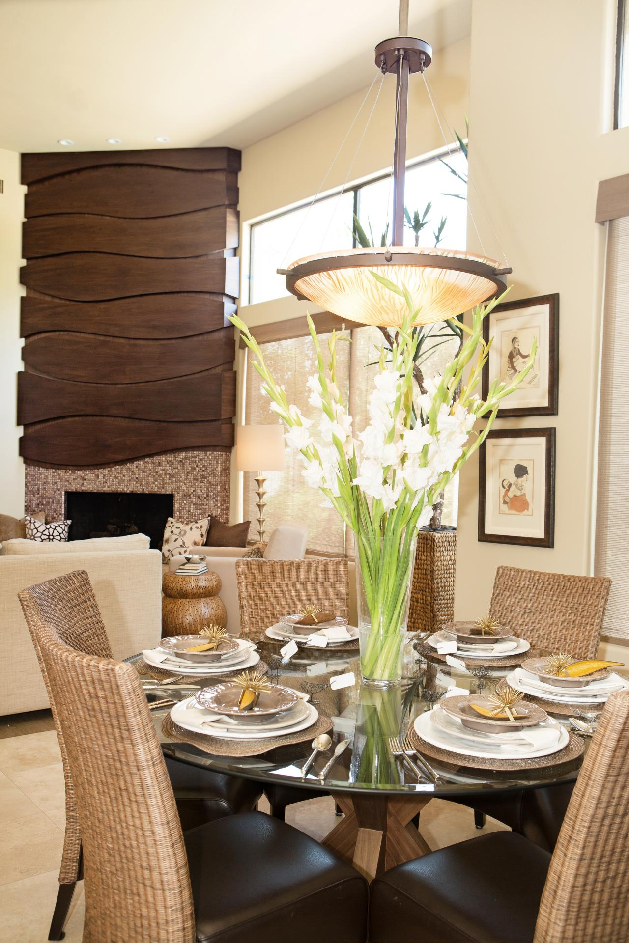 Neutral dining room photos hgtv for Modern dining room table centerpiece ideas