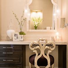 Elegant Makeup Vanity With Silver Ornamental Chair