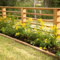 Natural Wood Fence Trimmed by Yellow Flowers