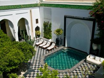 Moroccan-Inspired Courtyard With Beautiful Pool