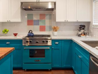 Bold Teal Cabinets Make Statement in Chef's Kitchen