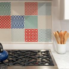 Colorful Patterned Backsplash in Chef's Kitchen