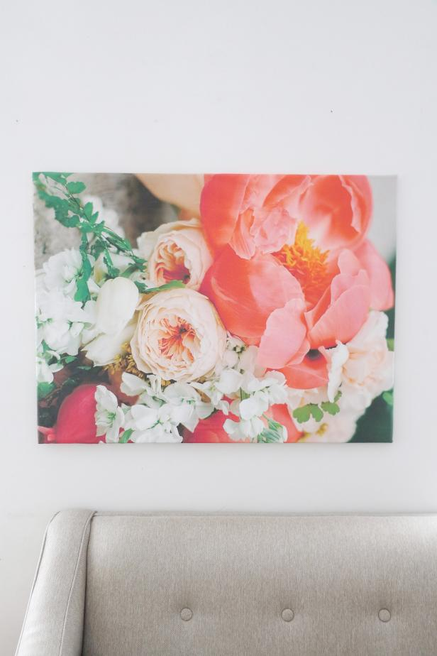 Bring the oversized floral trend into your home by creating your own, bold, floral artwork. This giant canvas covered in giant flowers is definitely a statement piece to easily fill a large, blank wall.